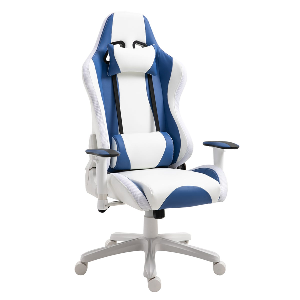 Equinox Spark PU Leather Gaming Chair with LED Lights & Adjustable Cushions - White/Blue