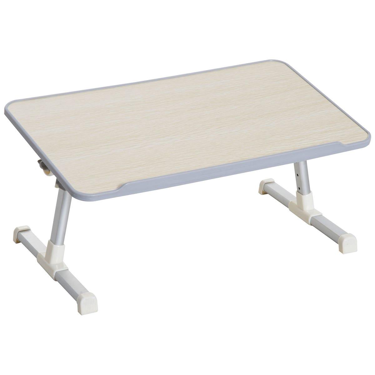 Folding Laptop Tray - Oak Top/Silver Frame