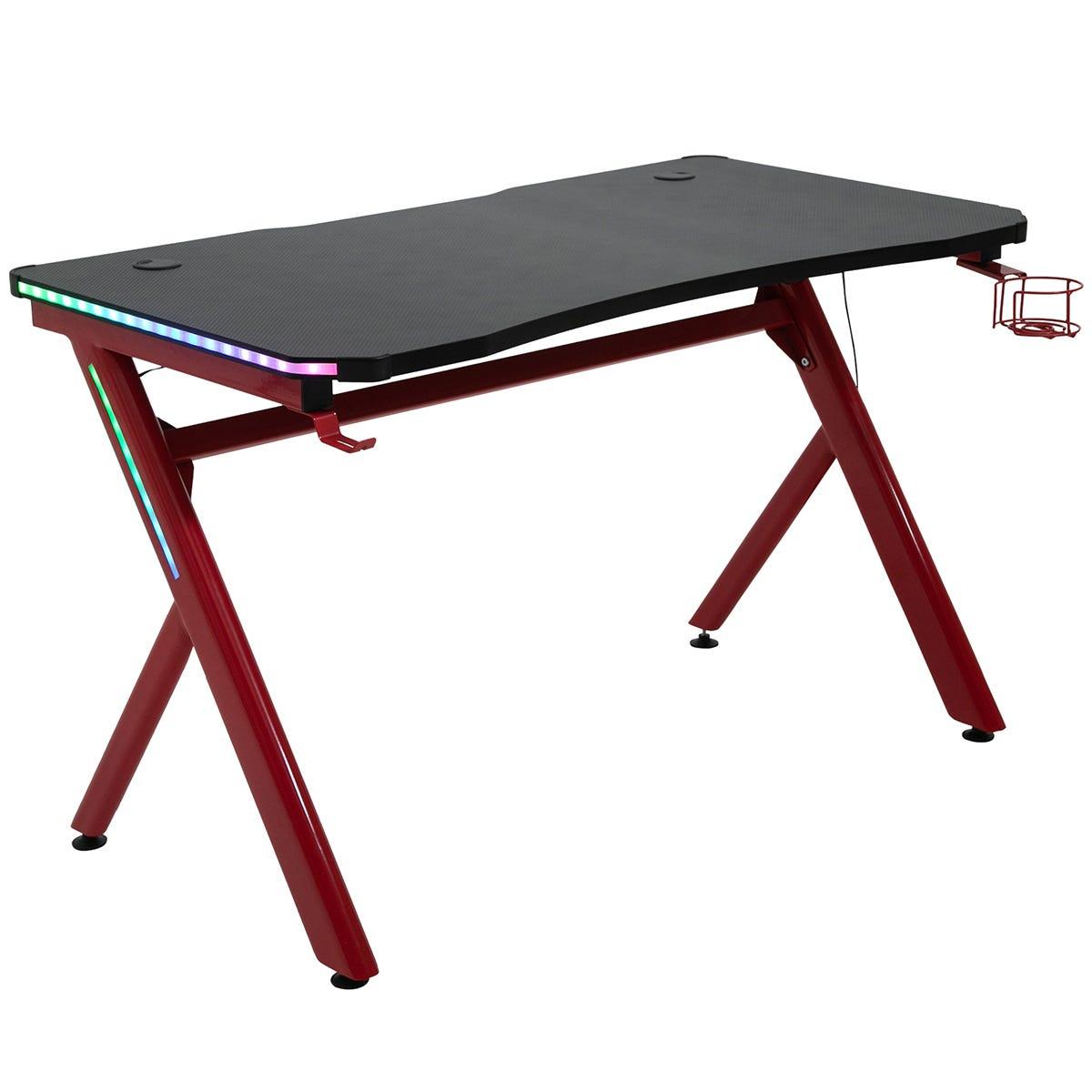 Equinox Blaze Gaming Desk with LED Strip - Black Tabletop/Red Frame