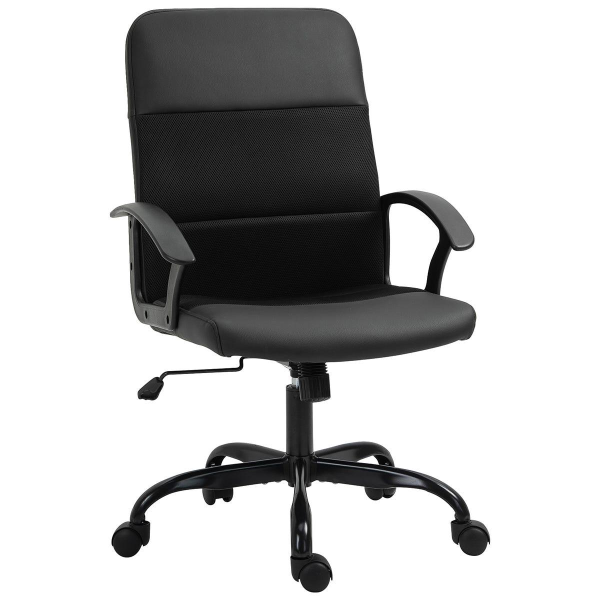 Zennor Kooj PVC Leather/Mesh Office Chair - Black