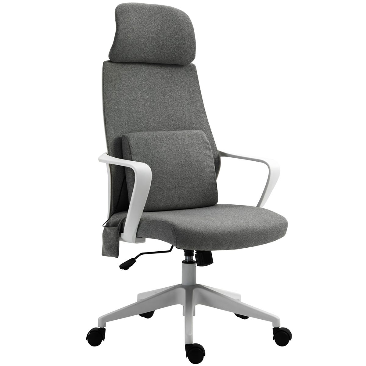 Solstice Nara Fabric Office Chair with Massaging Lumbar Cushion - Grey