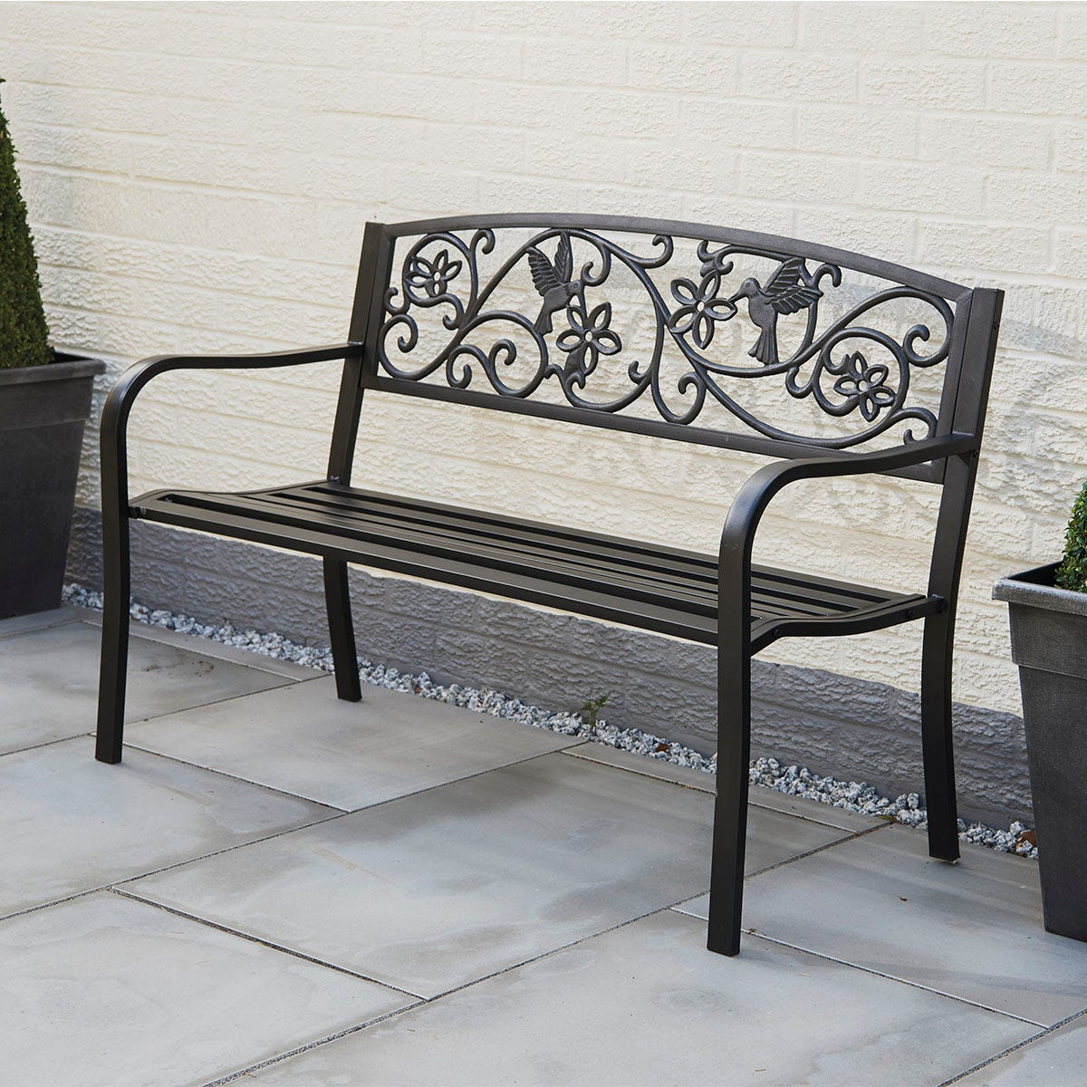 Greenhurst Hummingbird Garden Bench - Satin Black