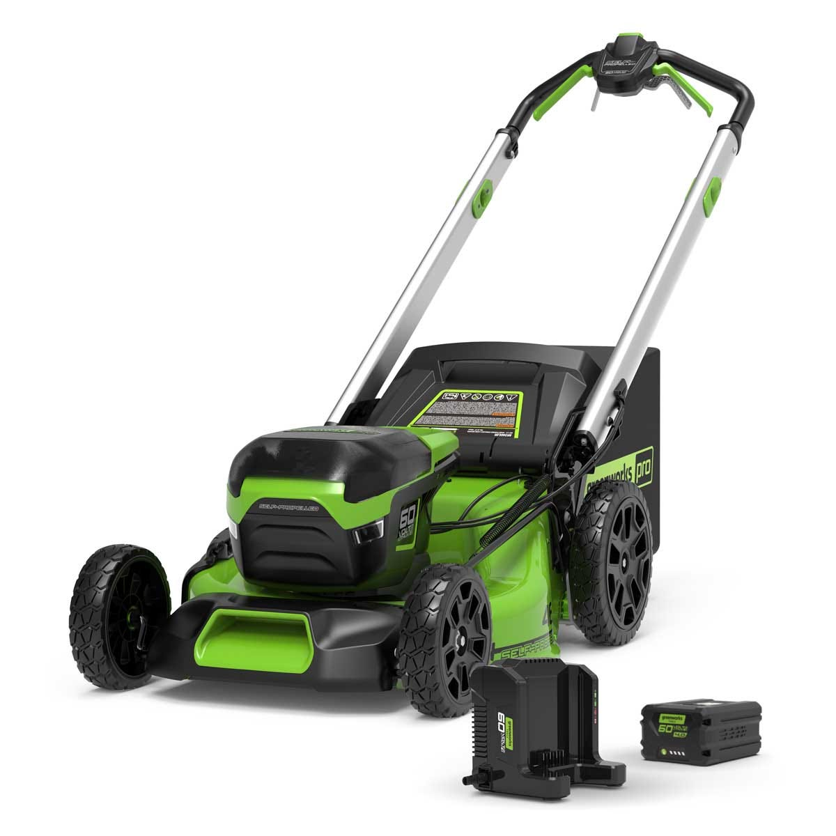 Greenworks 60v Cordless 46cm Brushless Self Propelled Lawn Mower with 4Ah Battery and Charger