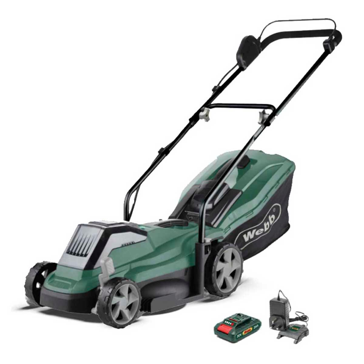 Greenworks Webb 33cm (14'') Cordless 20v Rotary Lawn Mower with 20v 4Ah Battery and Charger