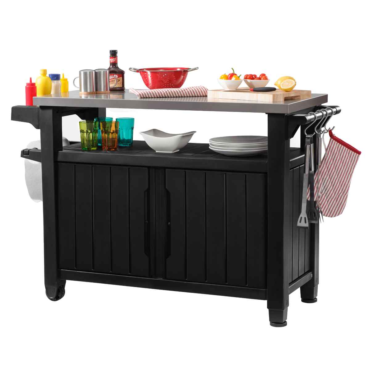 Keter Unity Double BBQ Table - Anthracite Grey