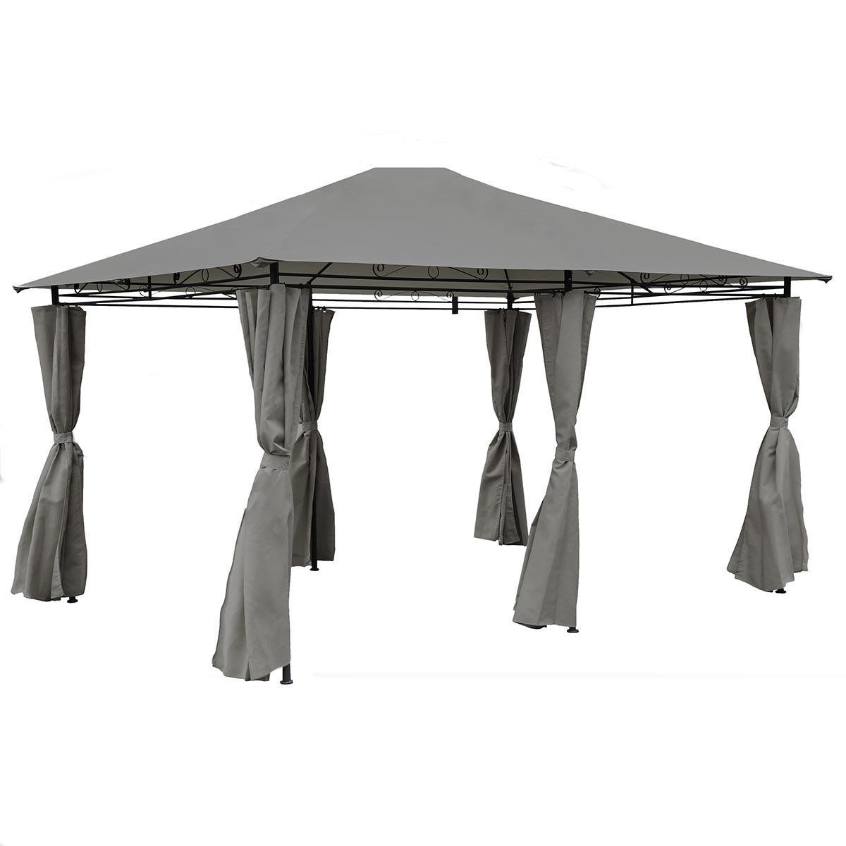 Charles Bentley 3m x 4m Steel Art Gazebo With Side Curtains - Grey