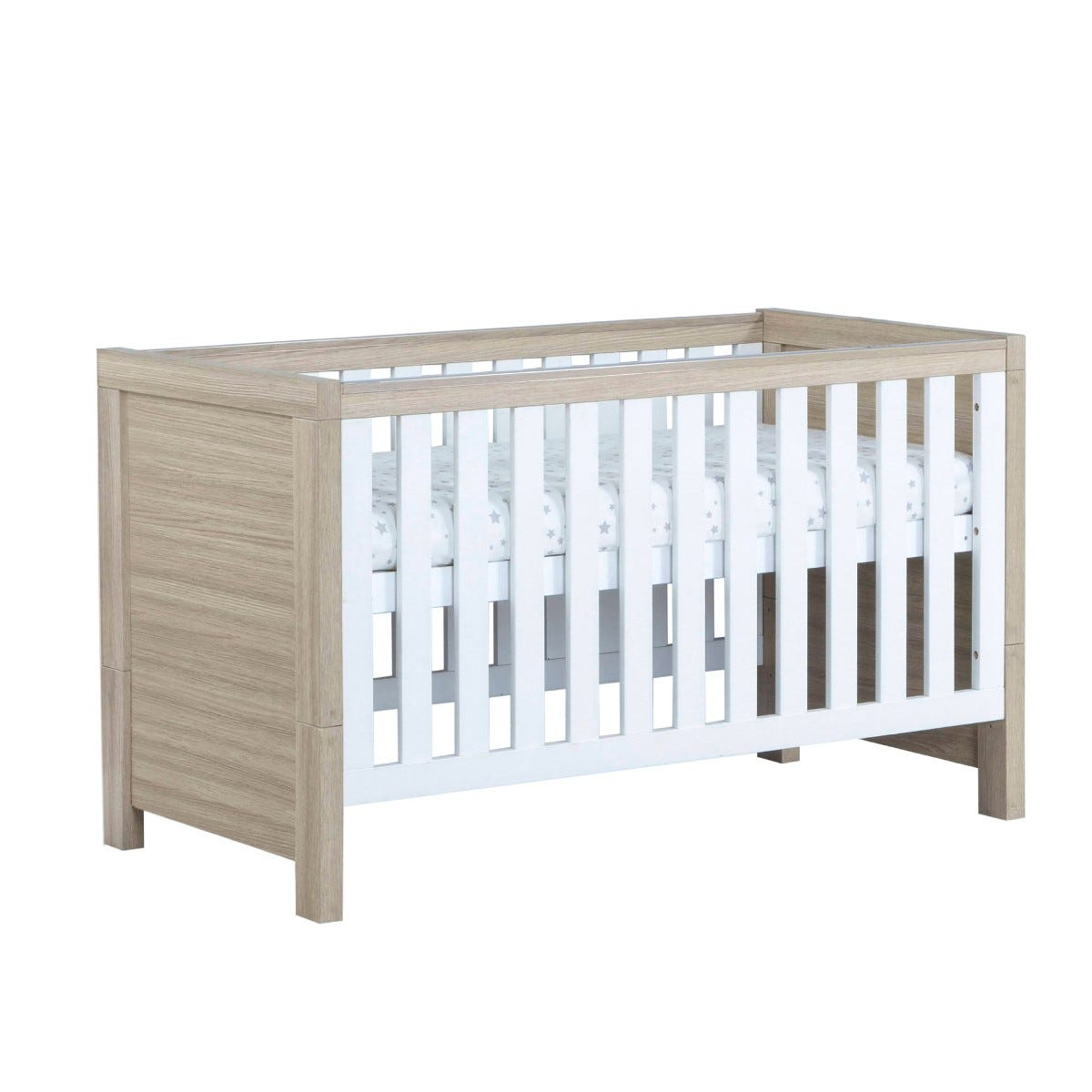 Babymore Luno Cot Bed White Oak Effect