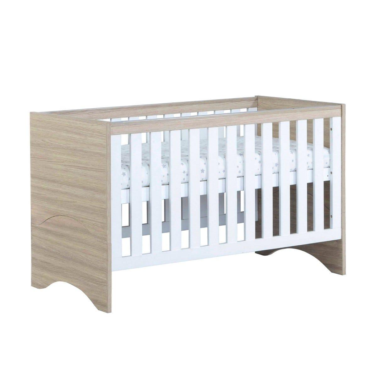 Babymore Veni Cot Bed White Oak Effect