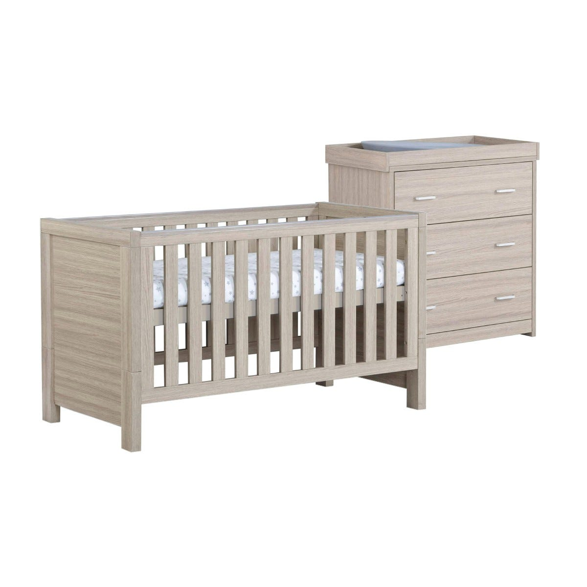 Babymore Luno Oak Effect 2 Piece Set Of Cot Bed And Chest Changer