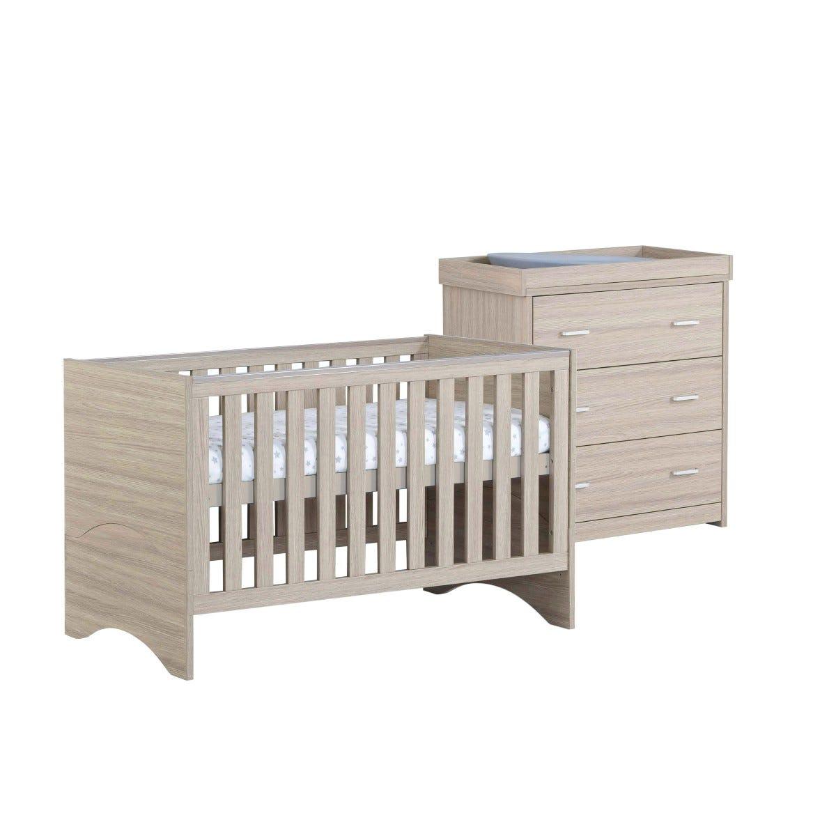Babymore Veni Oak Effect 2 Piece Set Cot Bed and Chest Changer