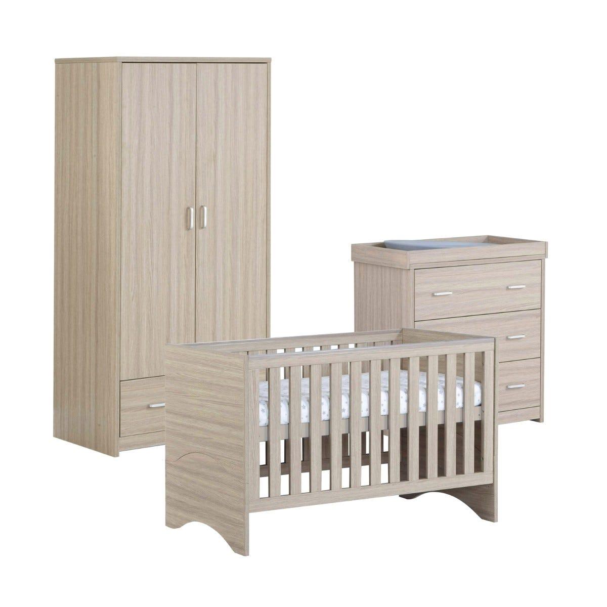 Babymore Veni Oak Effect 3 Piece Set Cot Bed Chest Changer and Wardrobe