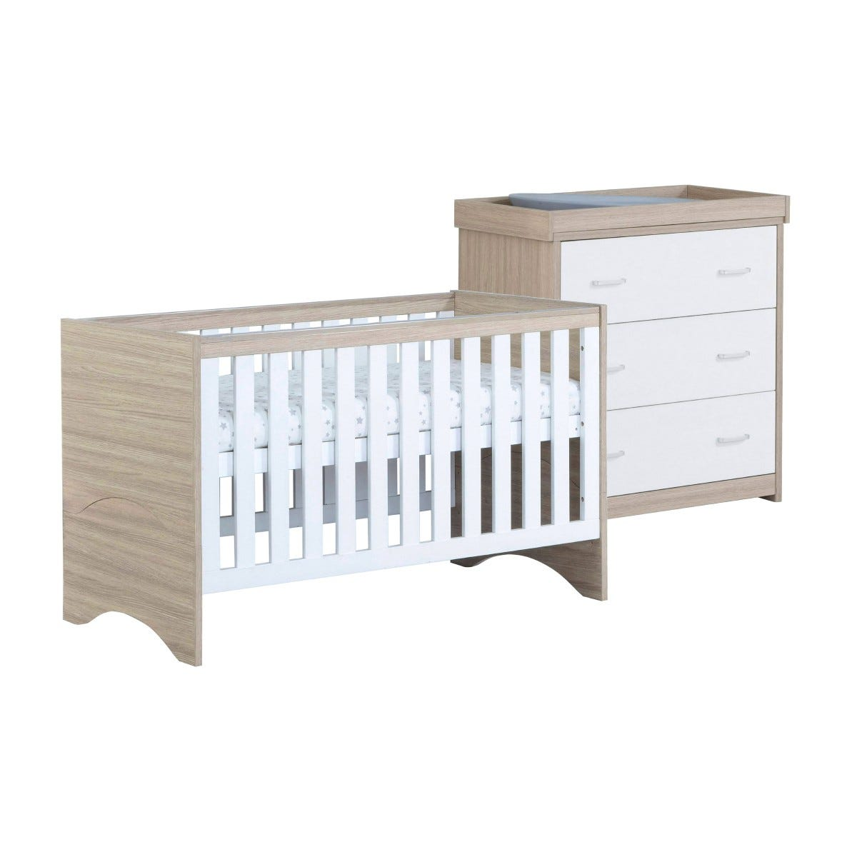 Babymore Veni White Oak Effect 2 Piece Set Cot Bed and Chest Changer