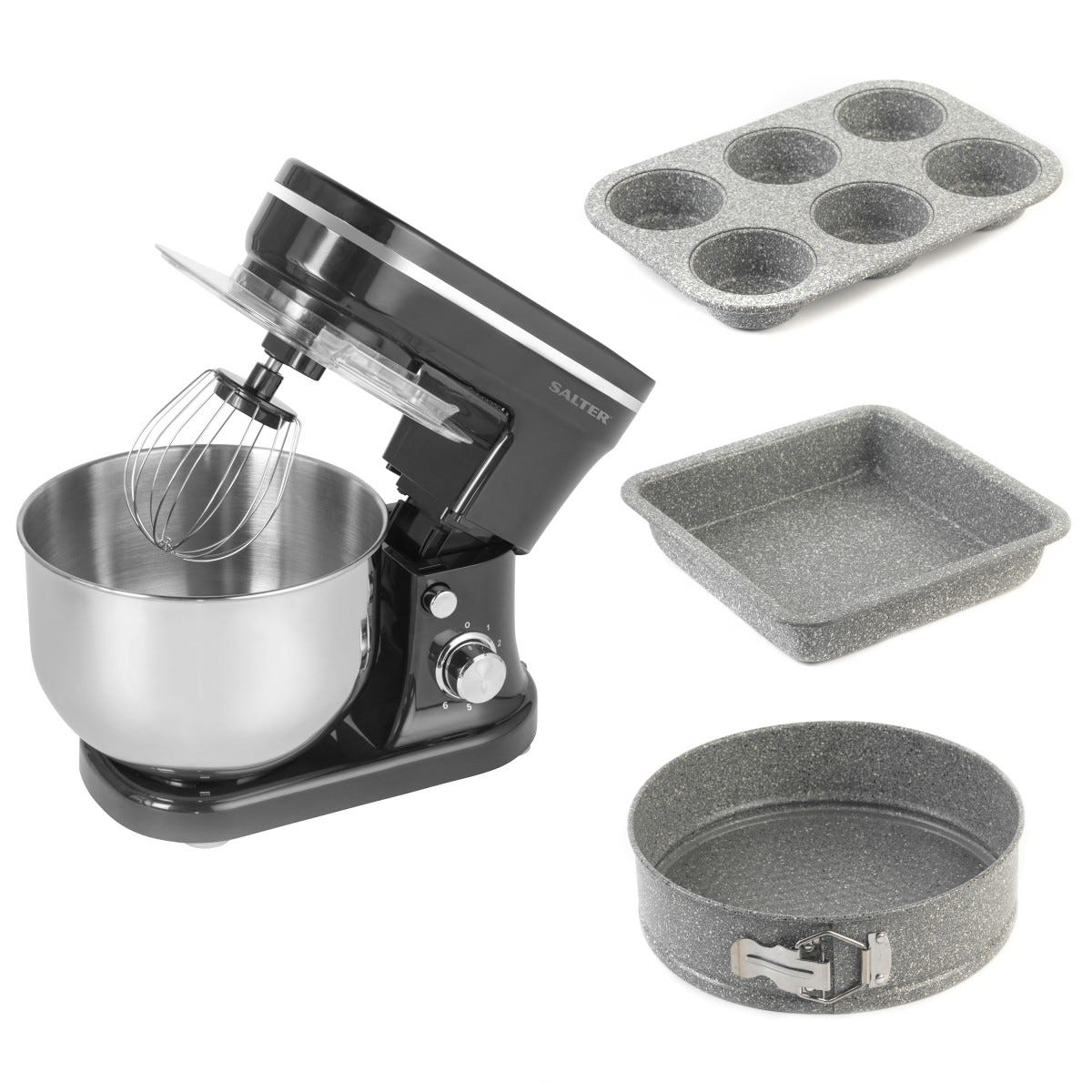 Salter COMBO-7102 5L Stand Mixer with 6 Speed Settings and Marble Collection Bakeware - Black & Silver