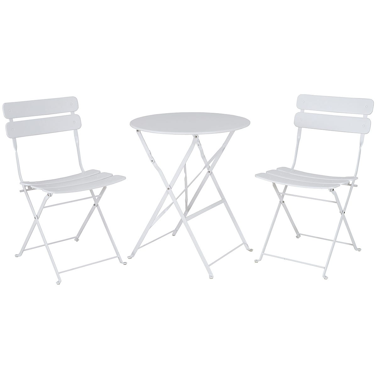 The Outdoor Living Company Annecy 2 Seater Folding White Bistro Set / Table H70 x Dia.60cm