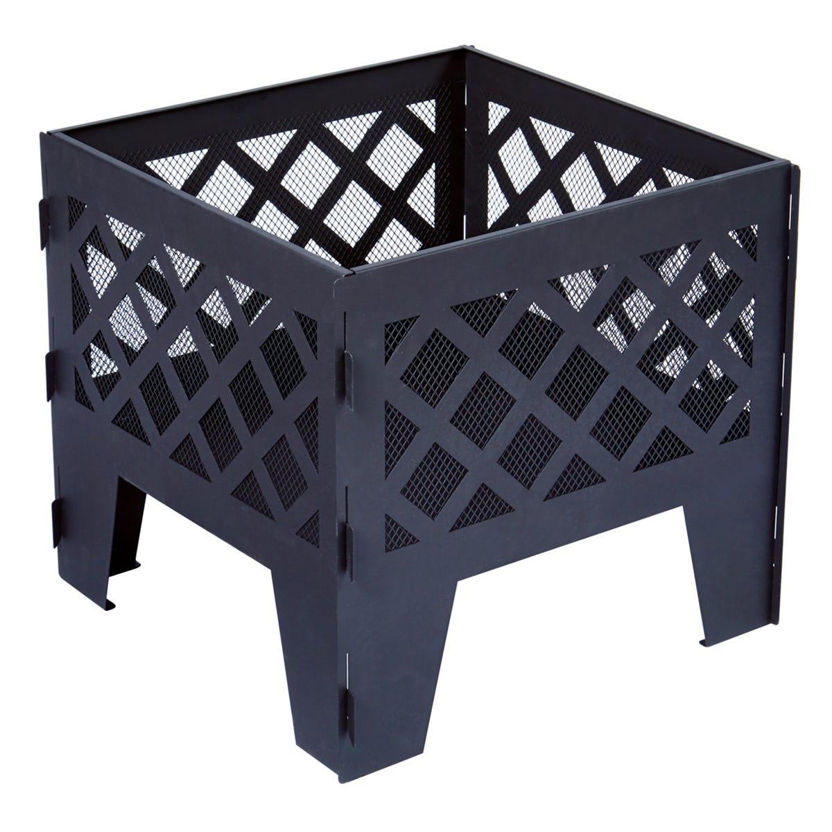 The Outdoor Living Company 50cm Square Black Metal Fire Pit / Basket / Brazier - H45 x W50 x D50cm