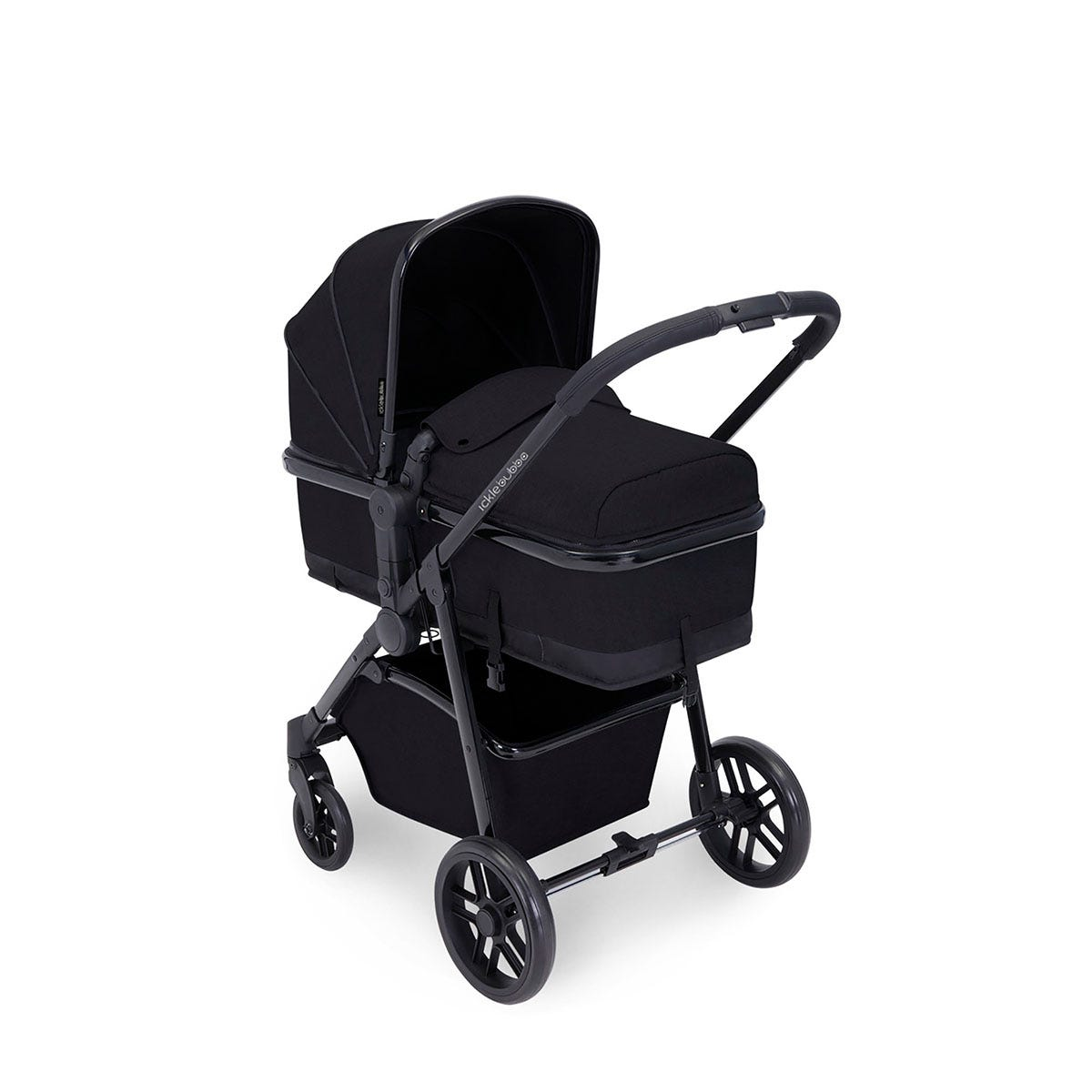 Ickle Bubba Moon 3 in 1 Travel System ISOFIX - Black on Black with Black Handles