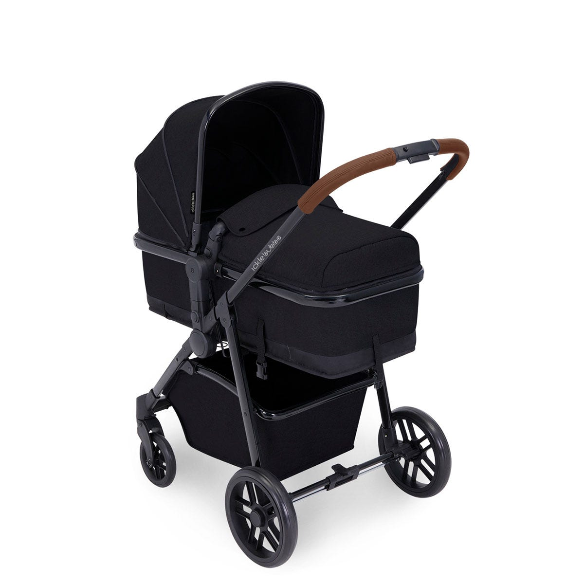 Ickle Bubba Moon 3 in 1 Travel System ISOFIX - Black on Black with Tan Handles