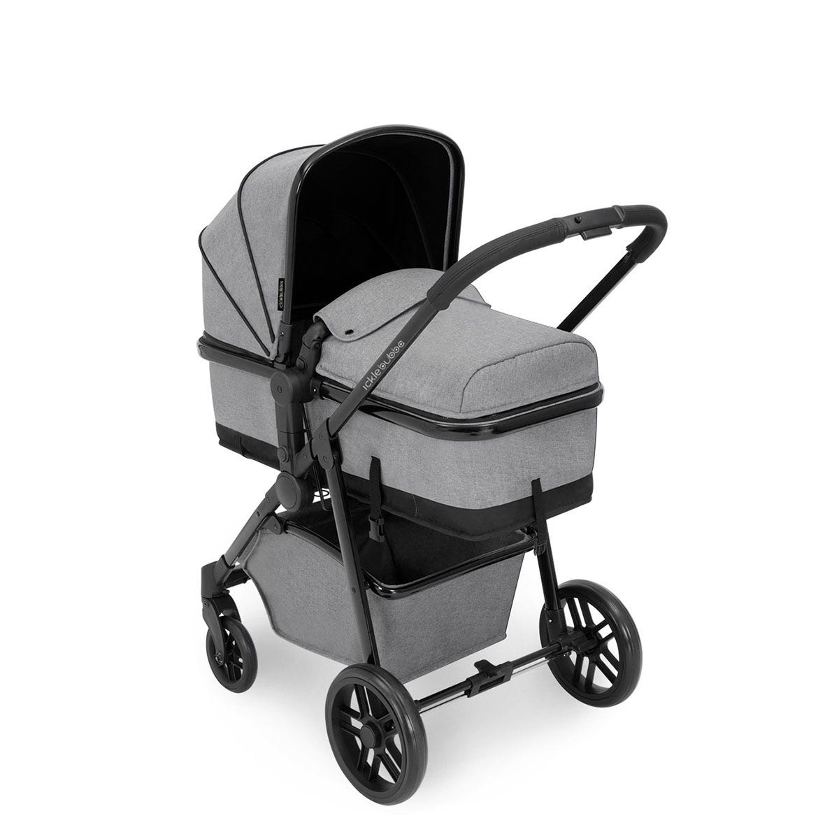 Ickle Bubba Moon 3 in 1 Travel System ISOFIX - Space Grey on Black with Black Handles