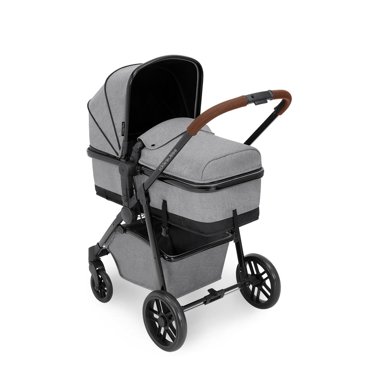 Ickle Bubba Moon 3 in 1 Travel System ISOFIX - Space Grey on Black with Tan Handles