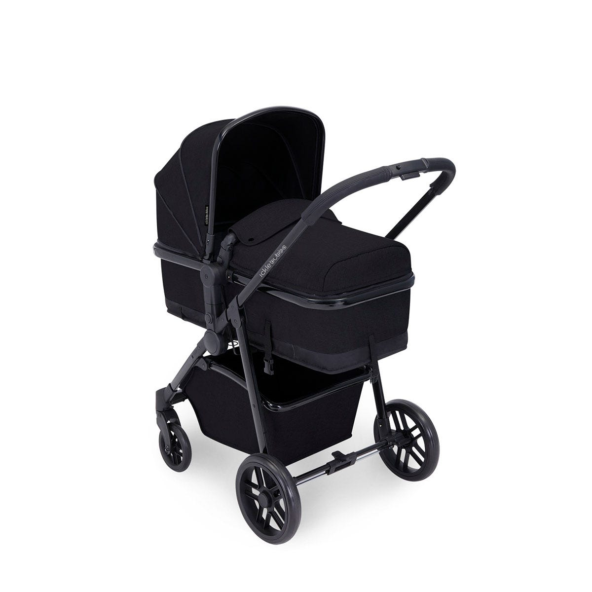 Ickle Bubba Moon i-Size 3 in 1 Travel System - Black on Black with Black Handles