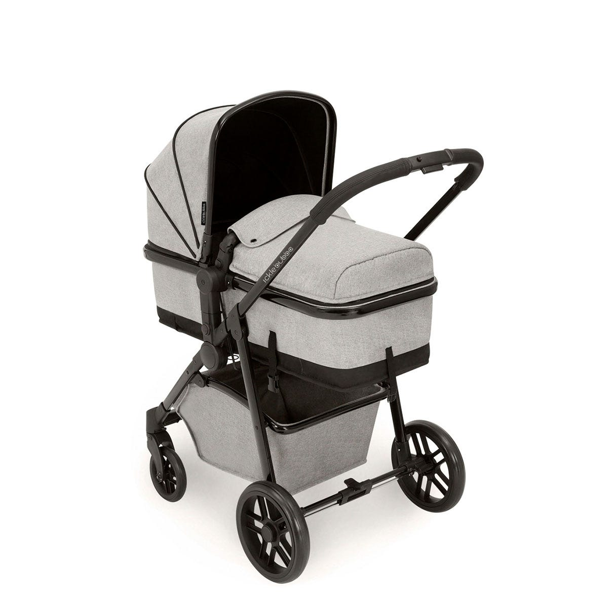 Ickle Bubba Moon i-Size 3 in 1 Travel System - Silver Grey on Black with Black Handles