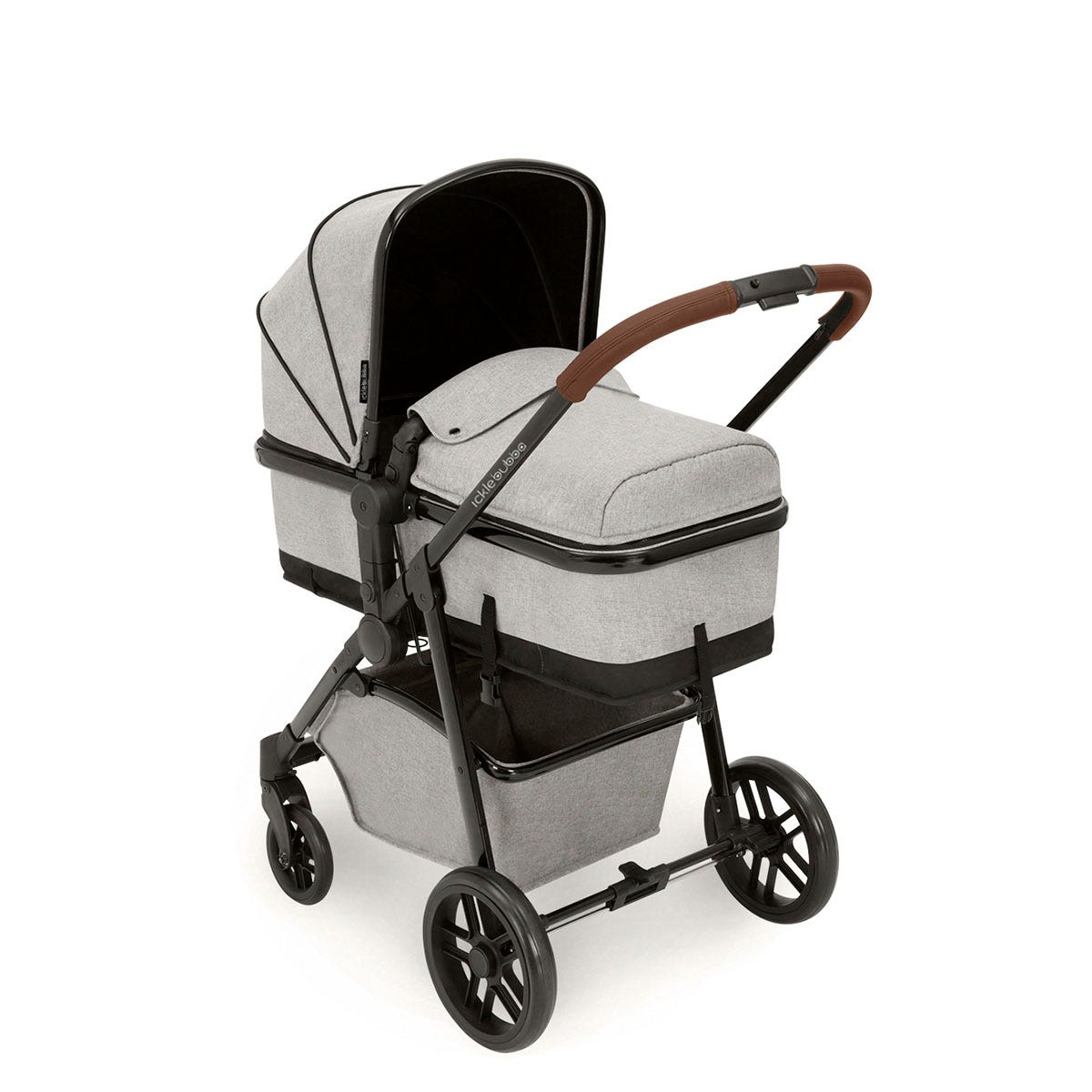 Ickle Bubba Moon i-Size 3 in 1 Travel System - Silver Grey on Black with Tan Handles