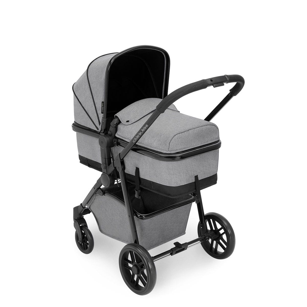 Ickle Bubba Moon i-Size 3 in 1 Travel System - Space Grey on Black with Black Handles