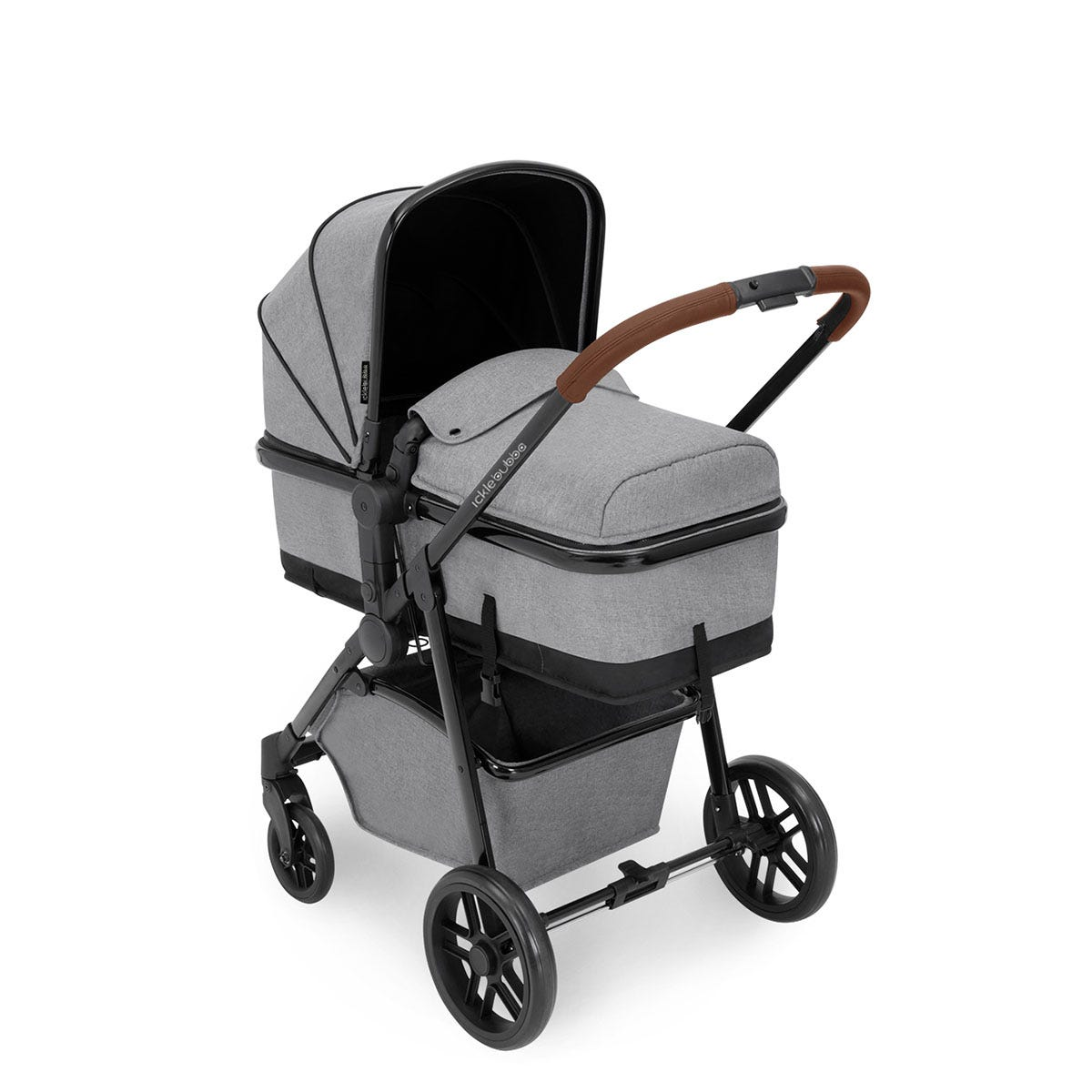 Ickle Bubba Moon i-Size 3 in 1 Travel System - Space Grey on Black with Tan Handles