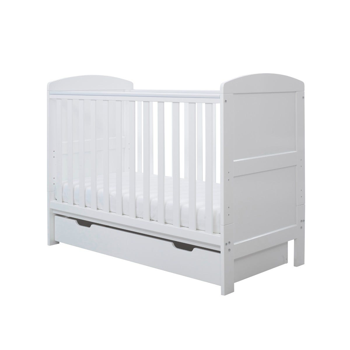Ickle Bubba Coleby Mini Cot Bed with Under Drawer White