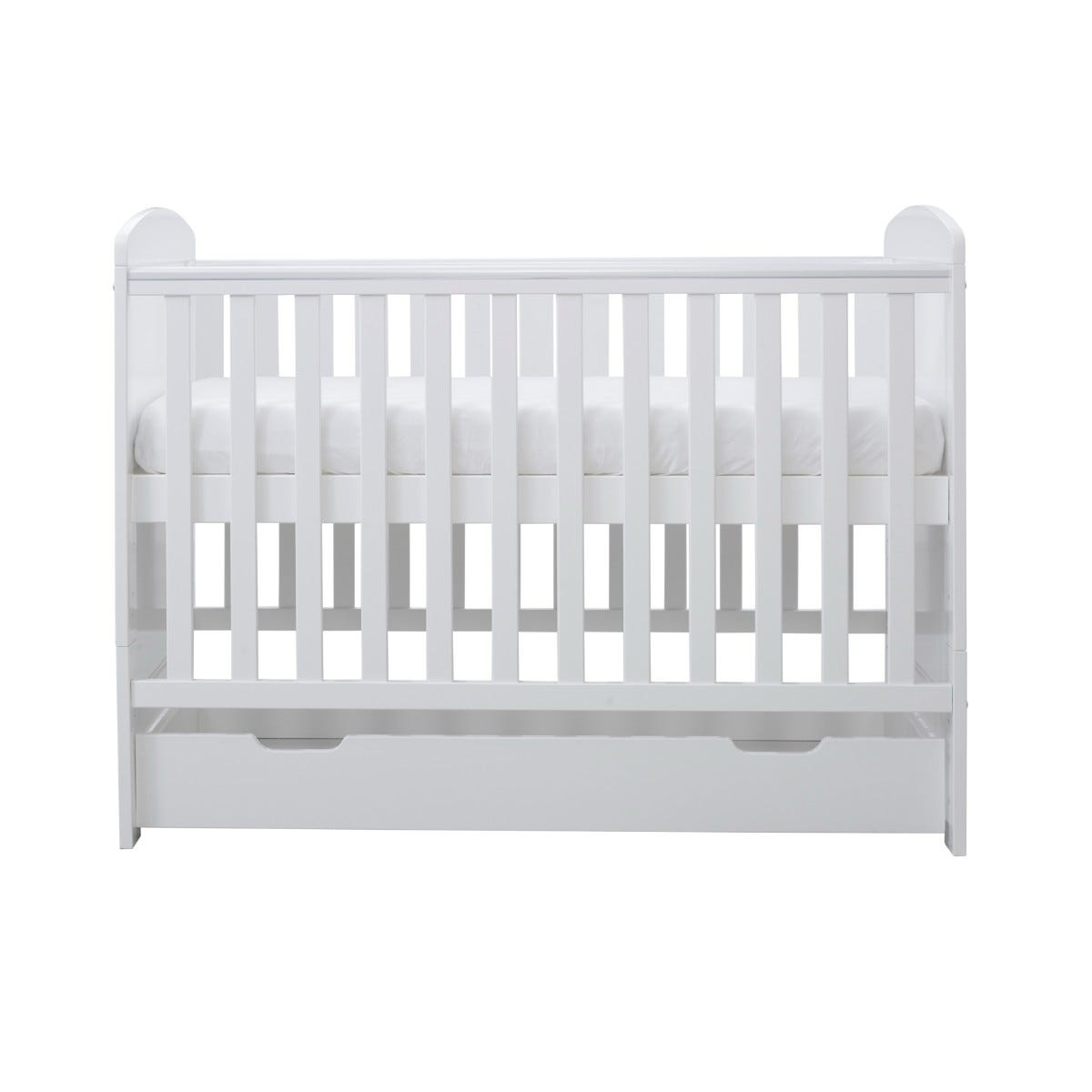 Ickle Bubba Coleby Mini Cot Bed Under Drawer and Pocket Sprung Mattress White