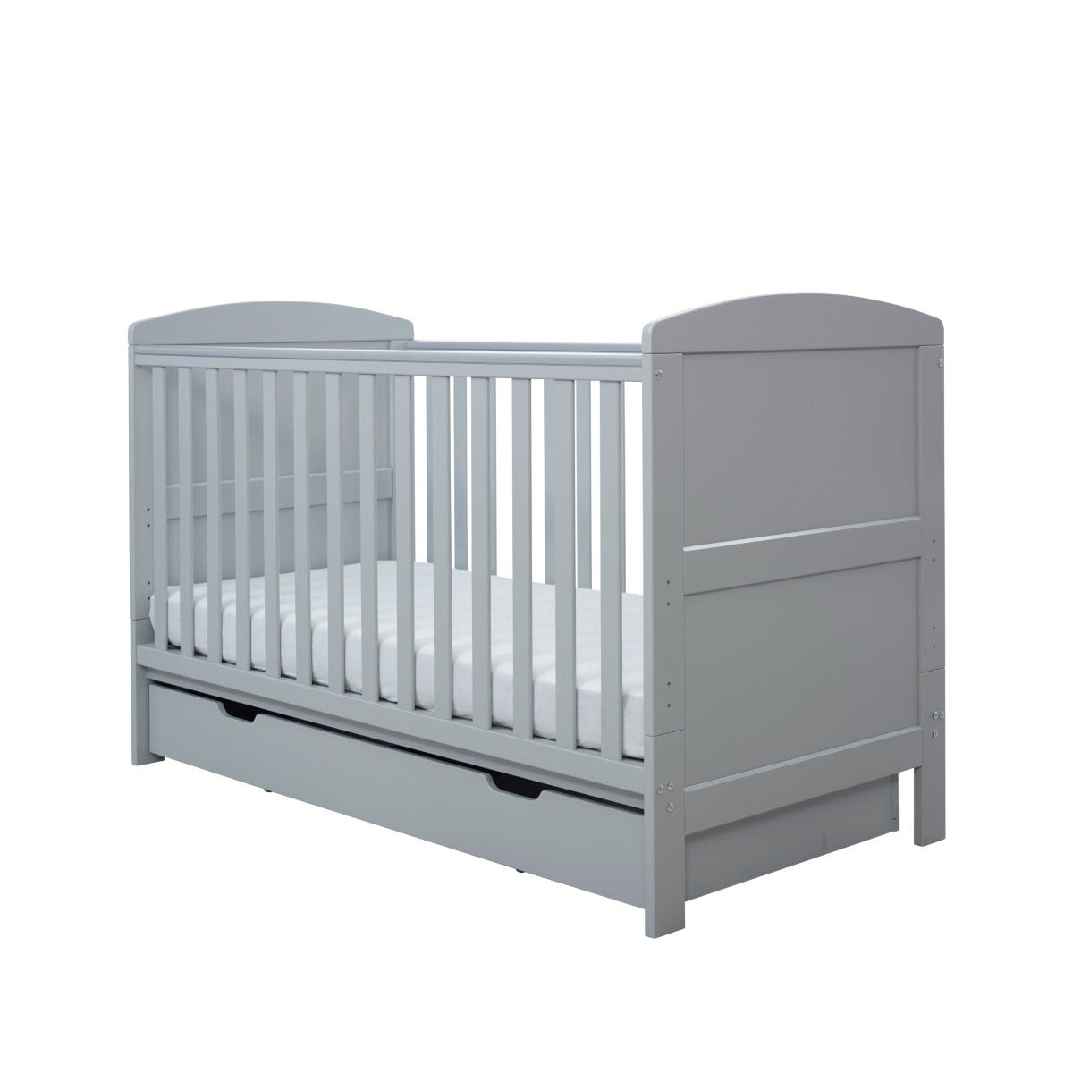 Ickle Bubba Coleby Classic Cot Bed Under Drawer and Pocket Sprung Mattress Grey