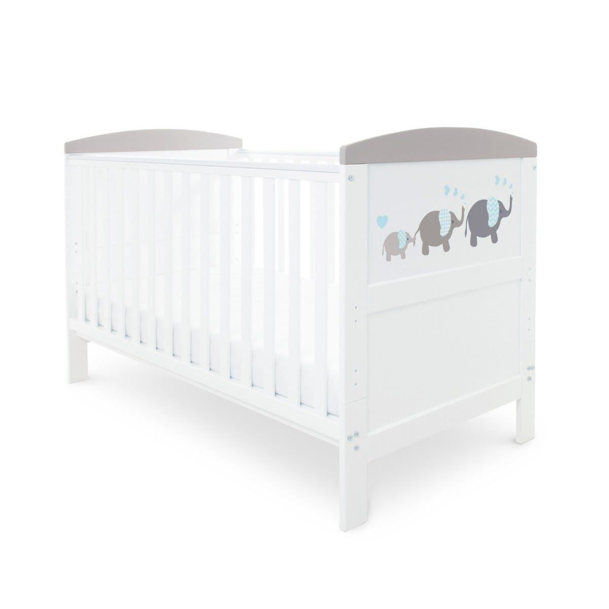Ickle Bubba Coleby Style Cot Bed and Pocket Sprung Mattress Elephant Love Grey