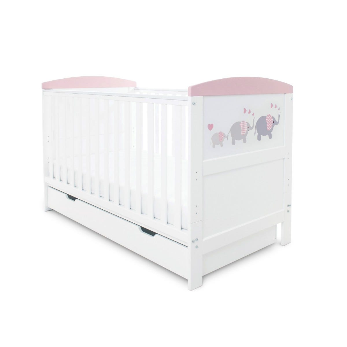 Ickle Bubba Coleby Style Cot Bed Under Drawer and Pocket Sprung Mattress Elephant Love Pink