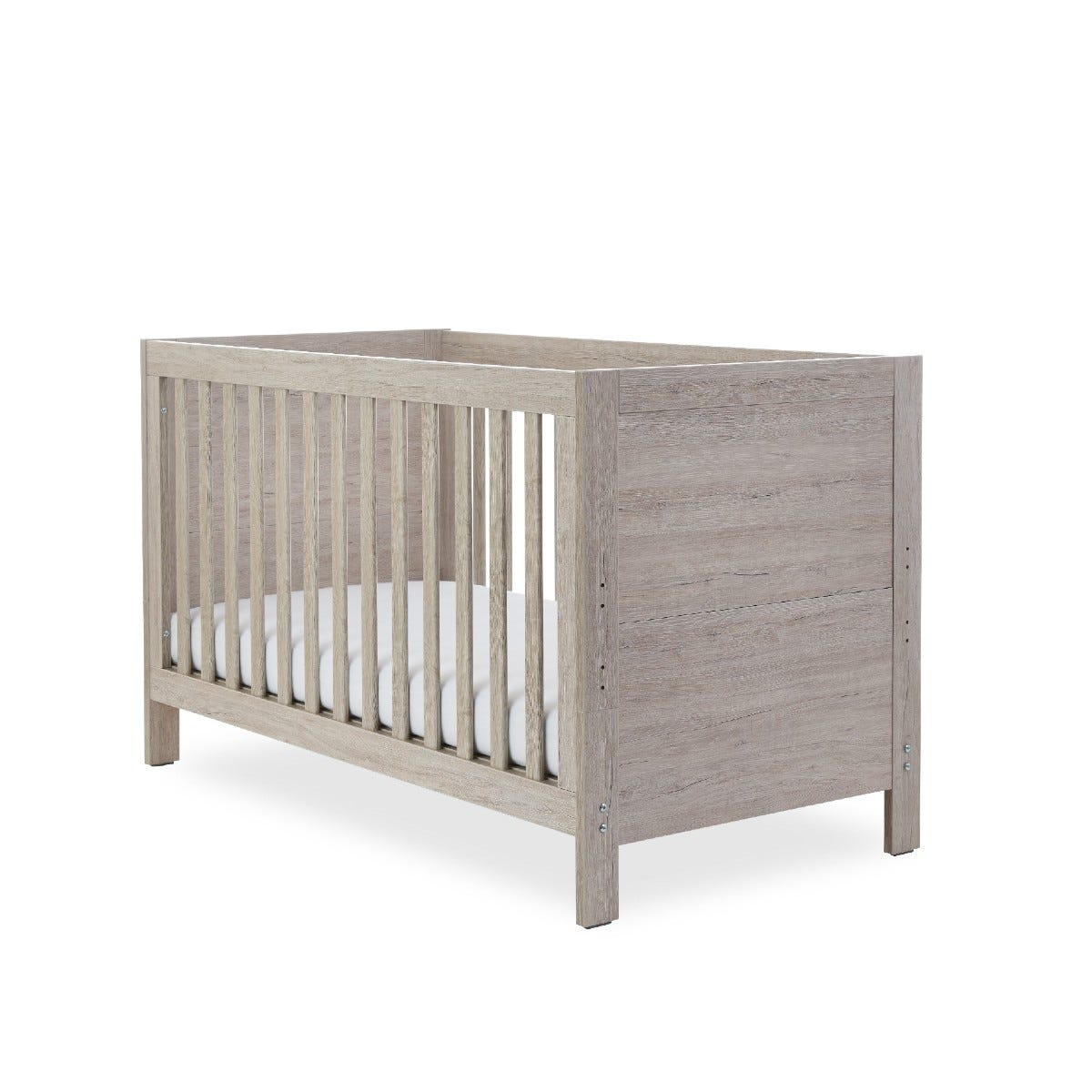 Ickle Bubba Grantham Cot Bed & Sprung Mattress Grey Oak