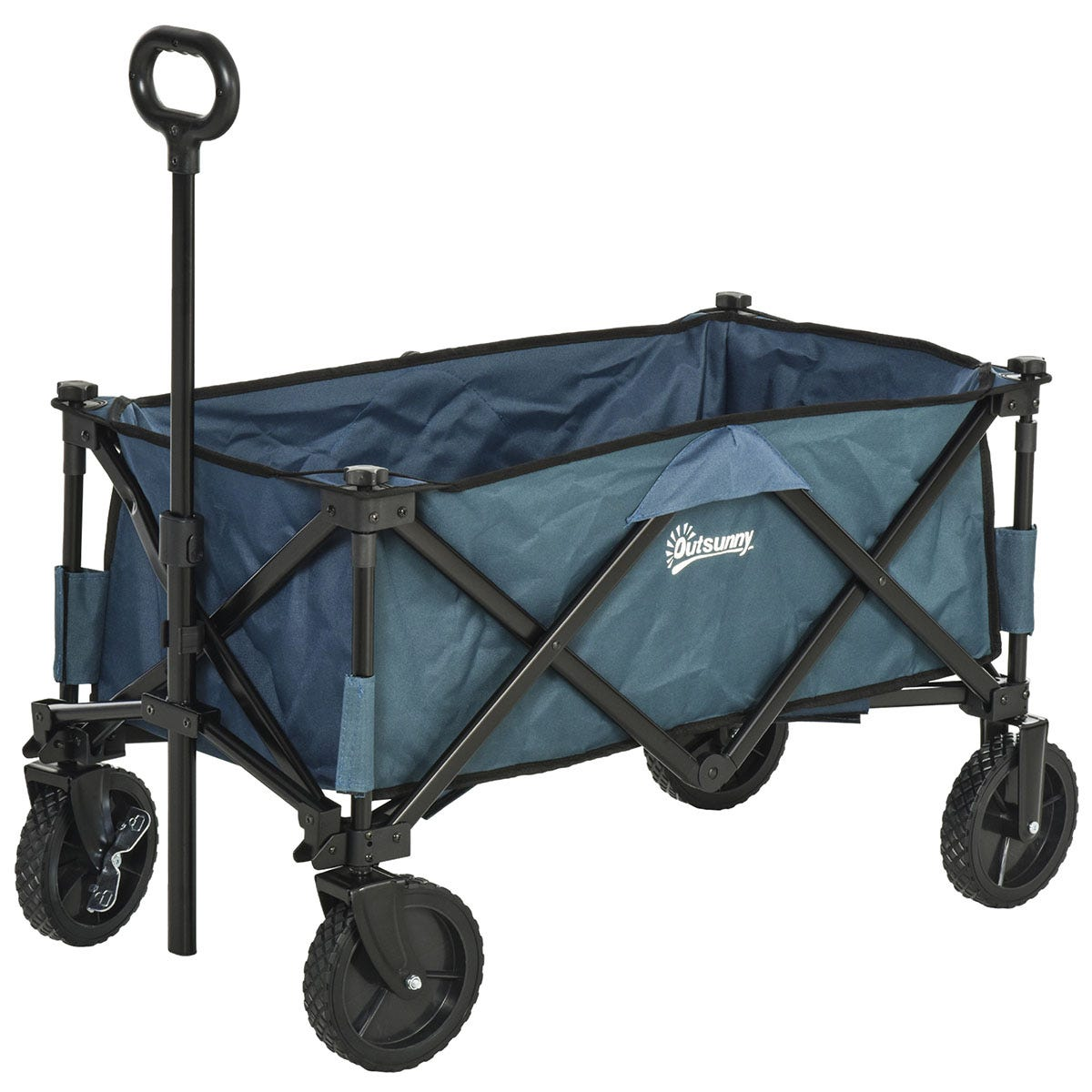 Outsunny Folding Outdoor Garden Storage Trolley Cart with Telescopic Handle & Brakes - Green
