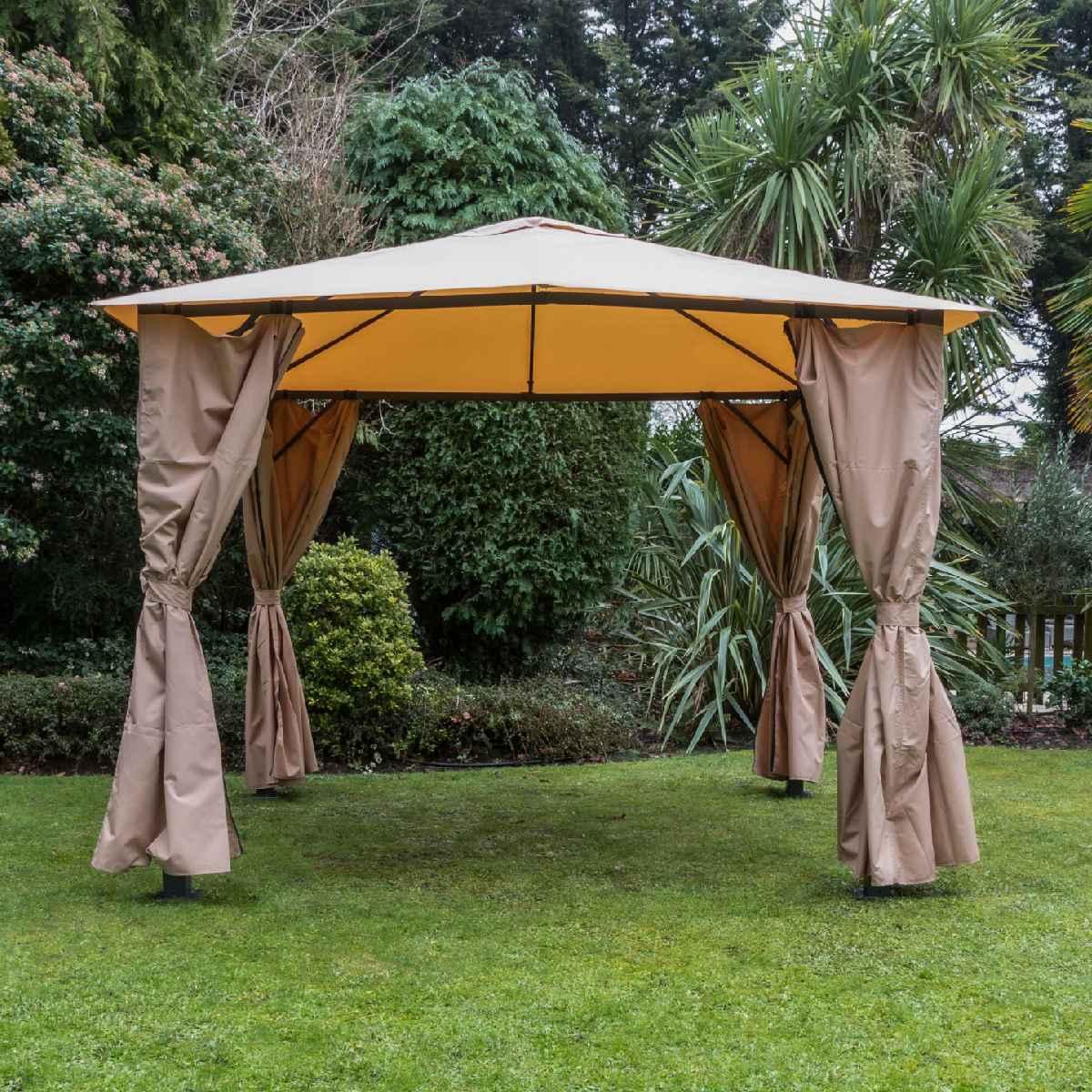 Katie Blake Eden 2.5m x 2.5m Gazebo With Curtains - Taupe