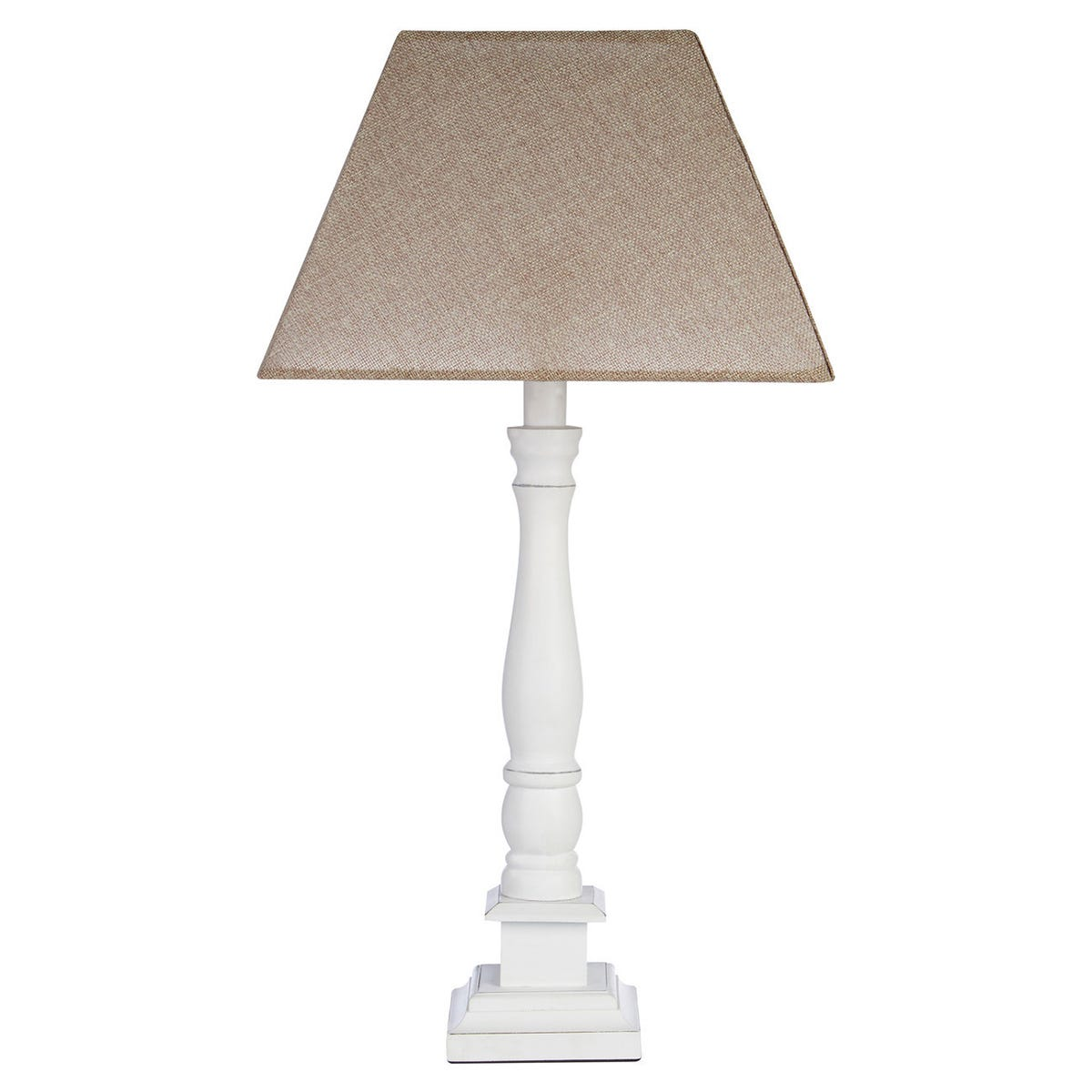 Interiors By Premier Table Lamp - White Wood Candlestick Base/Beige Shade