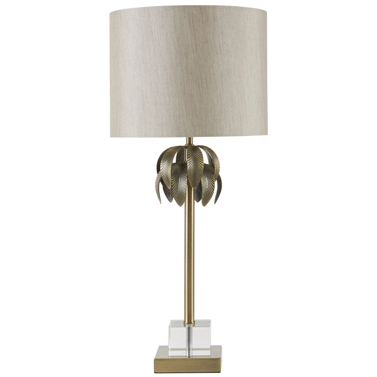 Interiors By Premier Table Lamp - Antique Brass Finish/Light Grey Shade