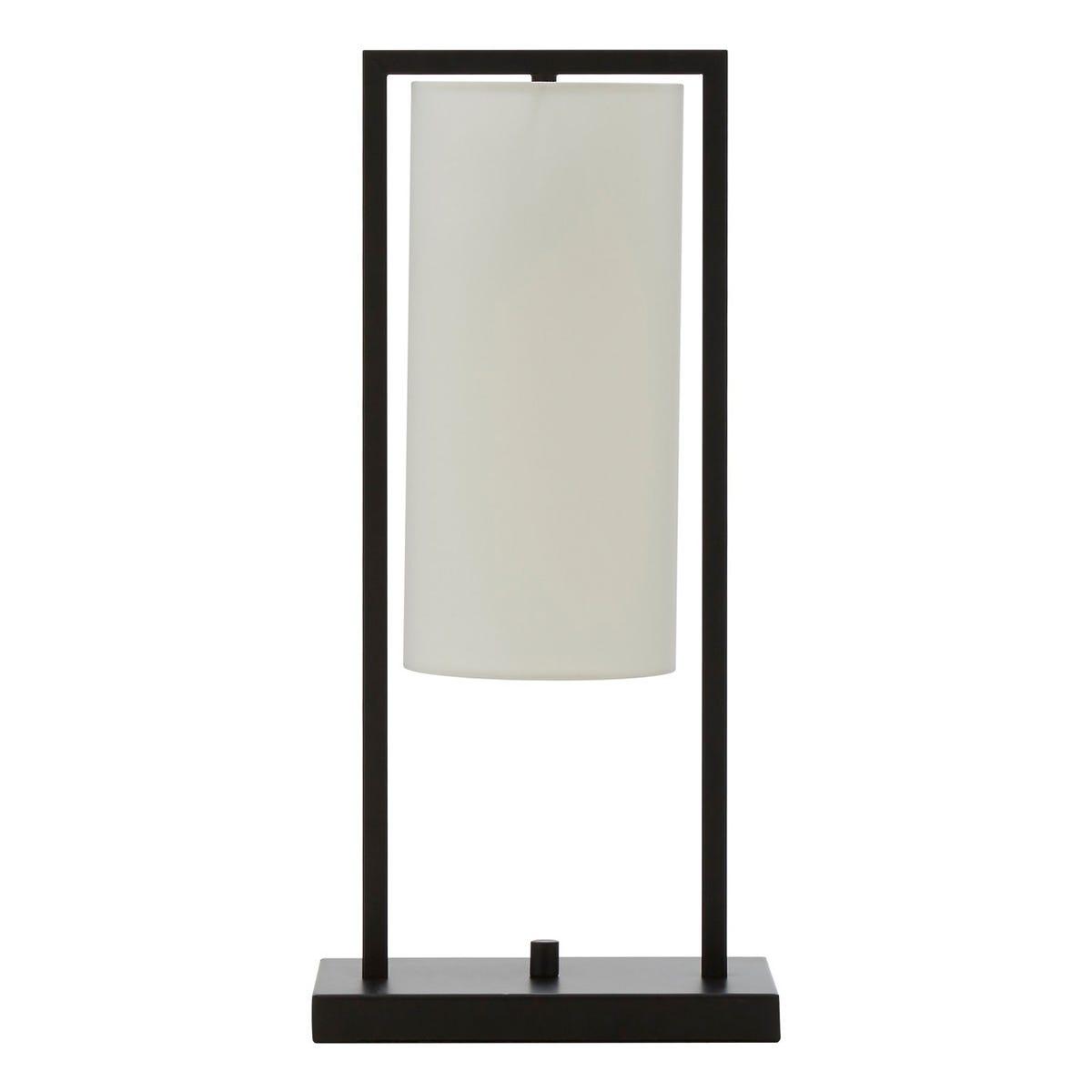 Interiors By Premier Table Lamp - Black Base/White Linen Shade