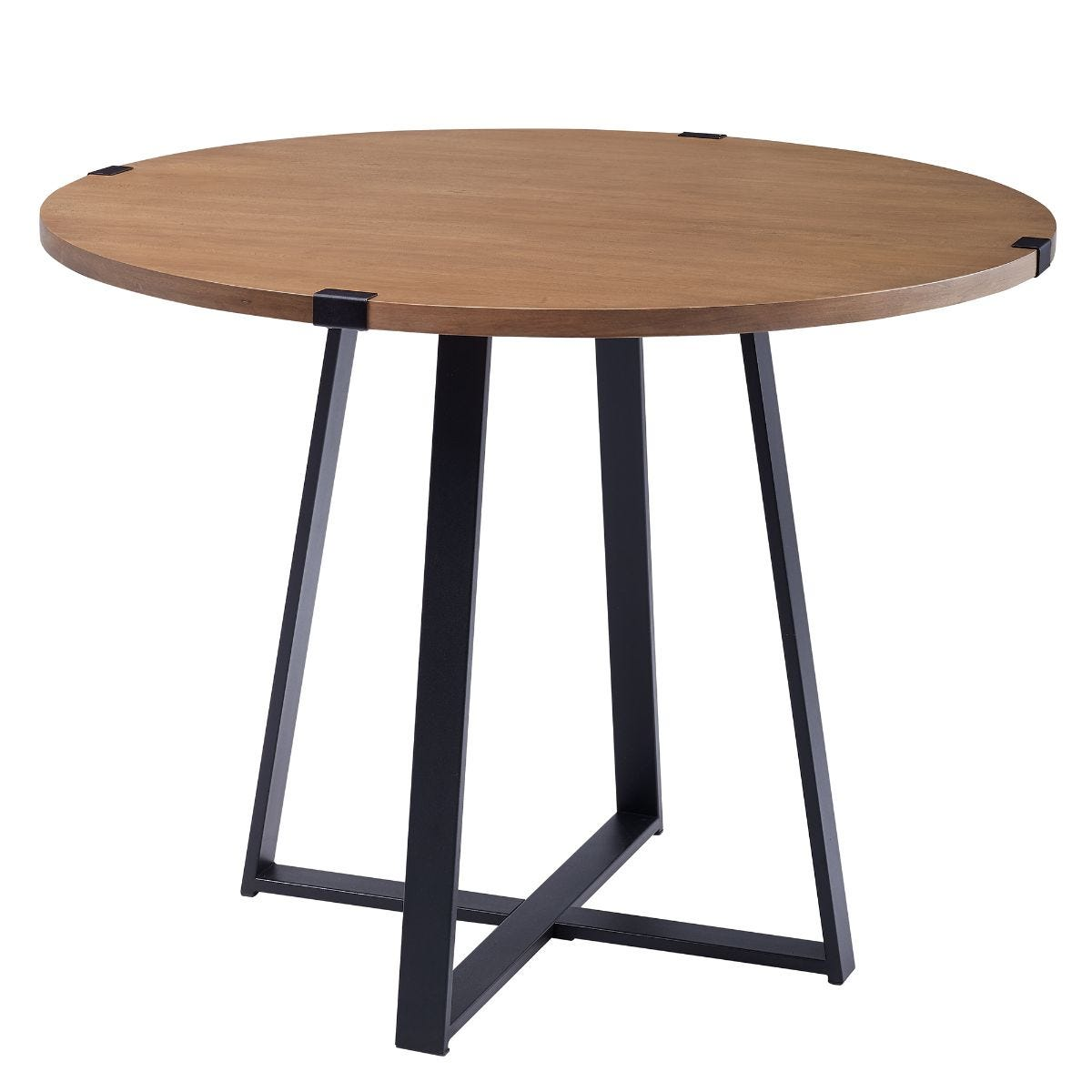 40 Inch Round Metal Wrap Dining Table English Oak and Black