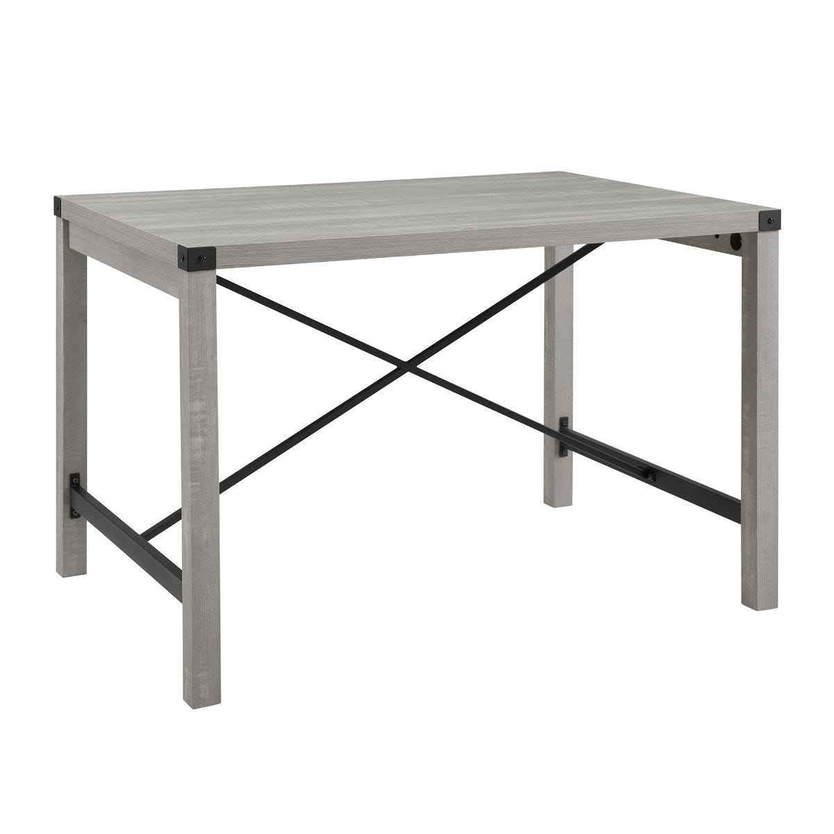 48 Inch Metal X Dining Table Stone Grey