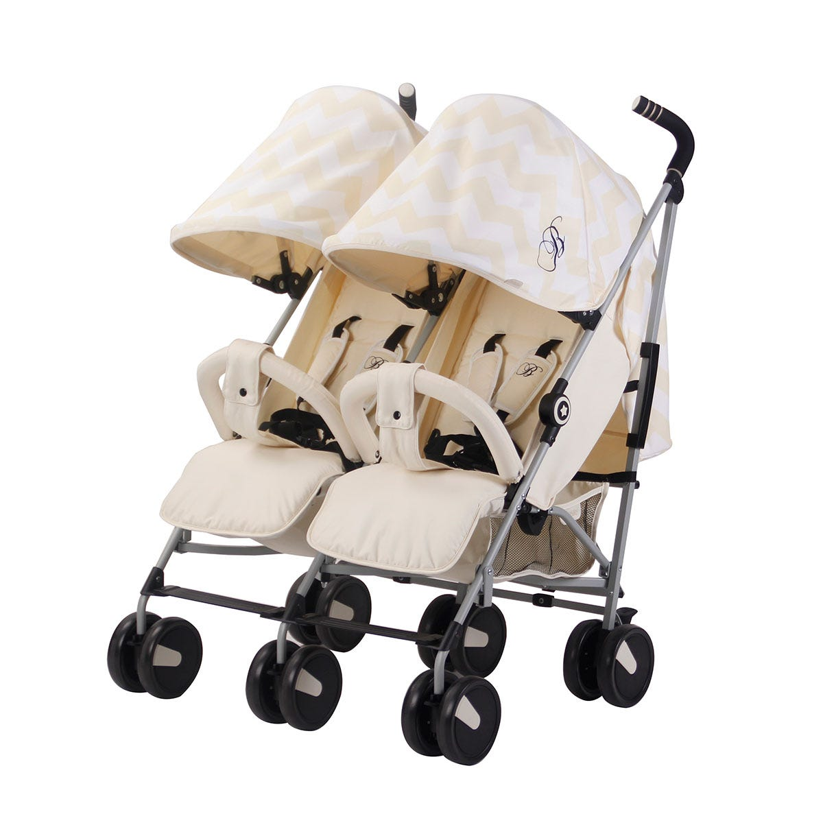 My Babiie Billie Faiers MB22 Chevron Twin Stroller - Cream