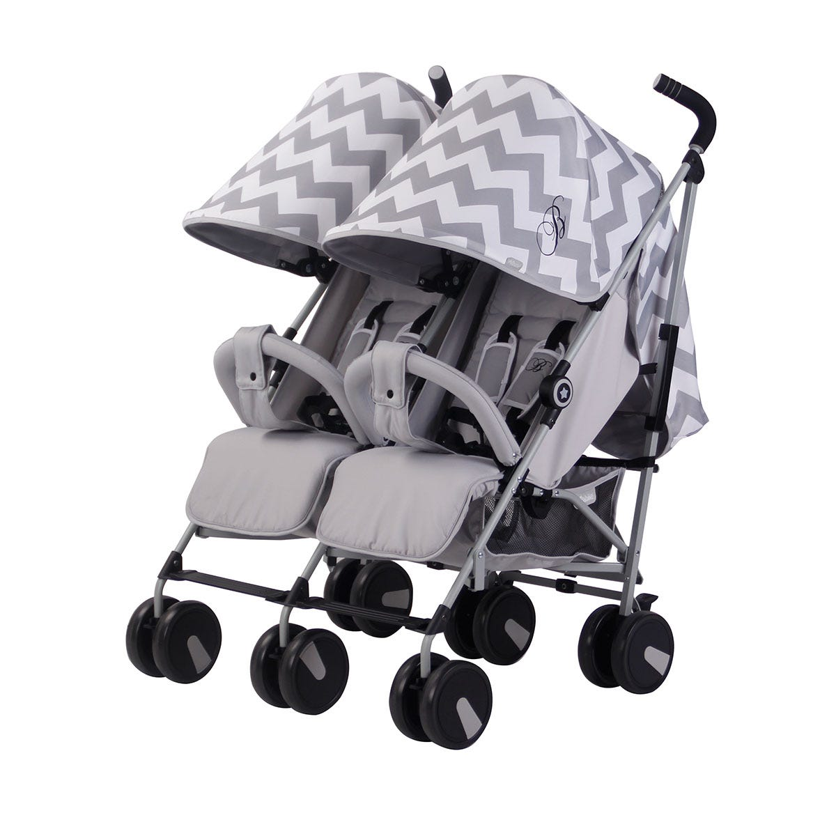 My Babiie Billie Faiers MB22 Chevron Twin Stroller - Grey