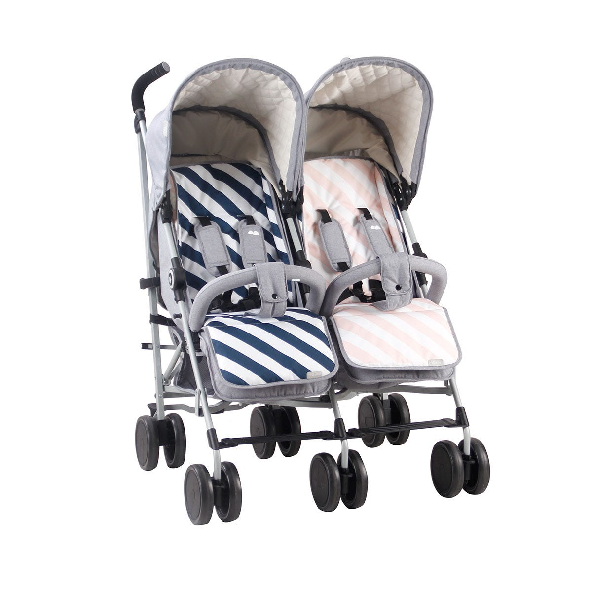 My Babiie Samantha Faiers MB22 Double Stroller with Reversible Seat Liners - Grey Melange