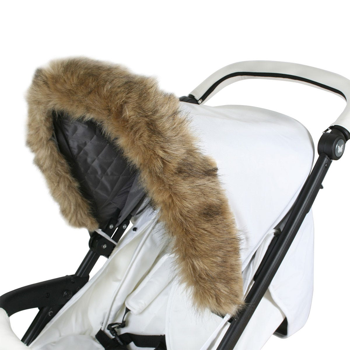 My Babiie Pram Hood Fur Trim - Brown