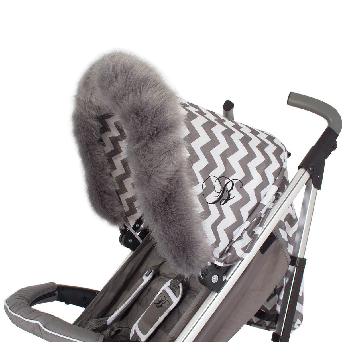 My Babiie Pram Hood Fur Trim - Grey