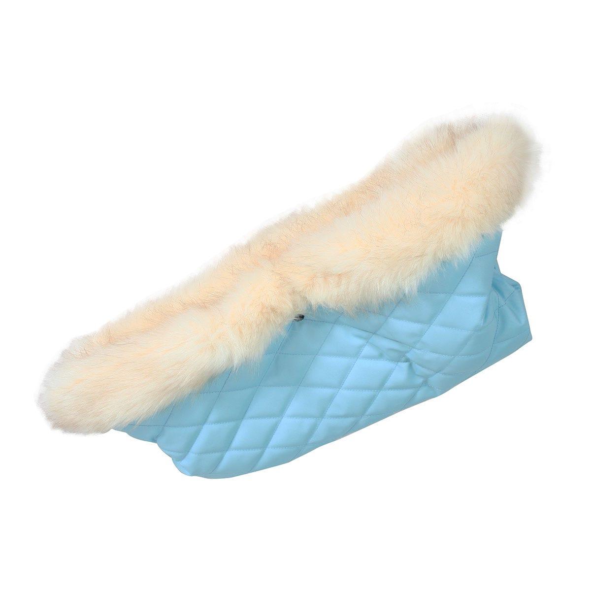 My Babiie Fur Trimmed Pushchair Handmuff - Baby Blue
