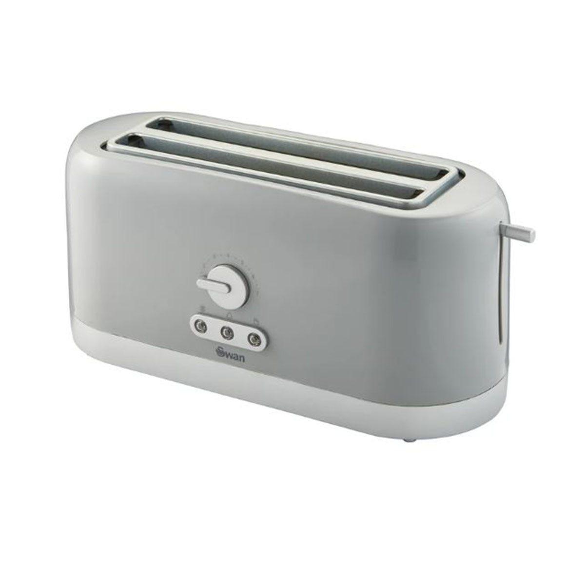 Swan ST10091GRYN LongSlot 4 Slice Toaster - Grey