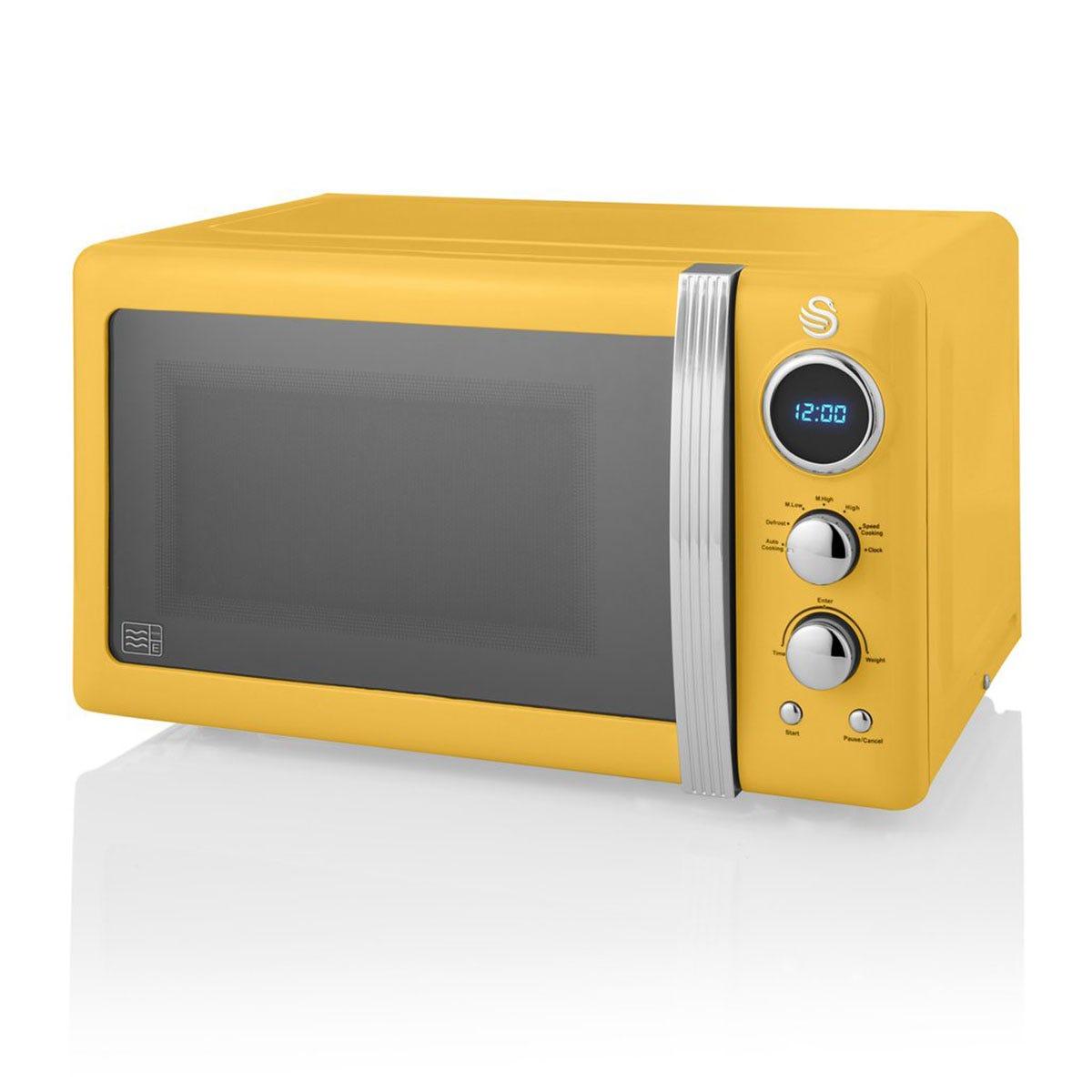 Swan SM22030YELN 800W 20L Retro Digital Microwave - Yellow