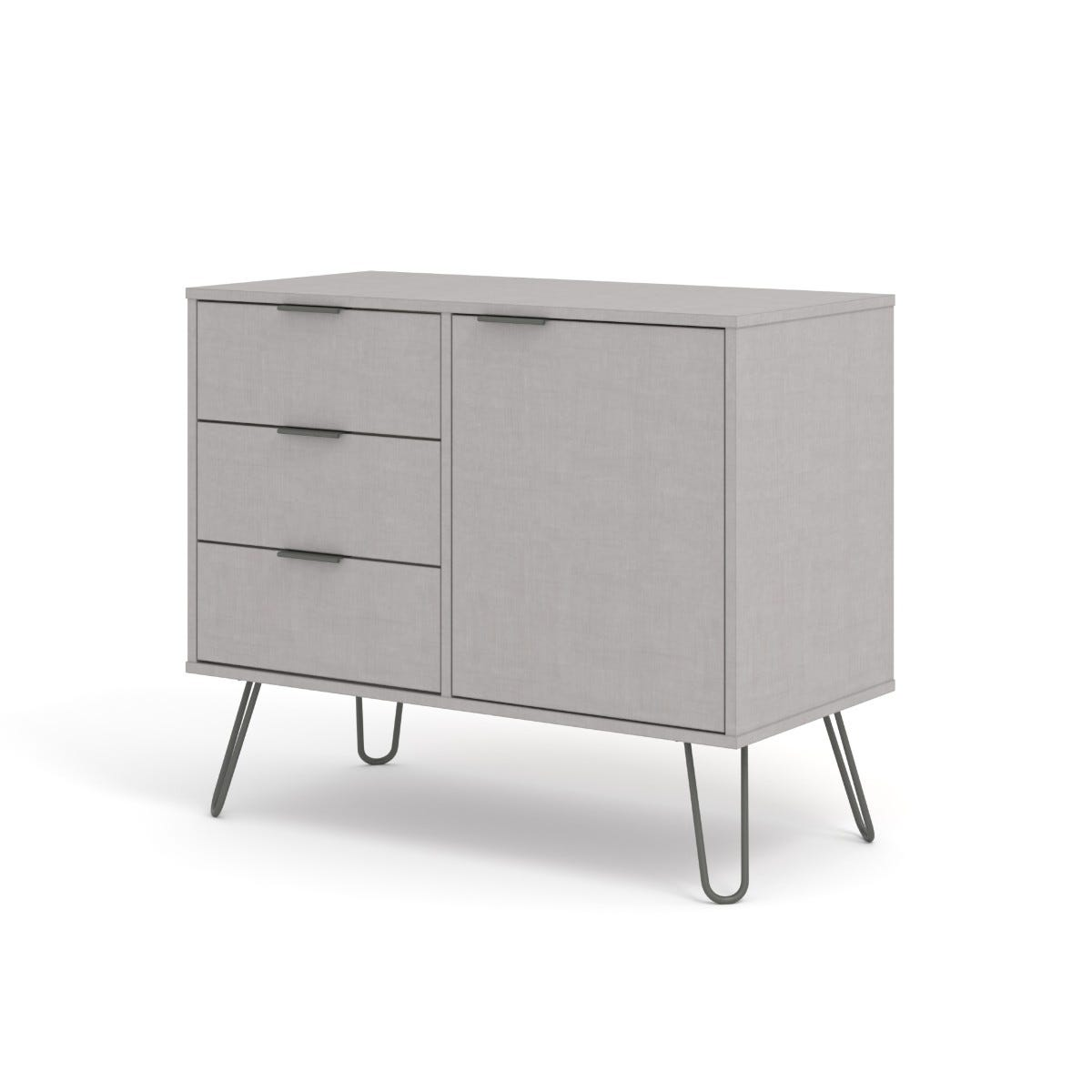 Augusta Small Sideboard With 1 Door 3 Drawers Grey
